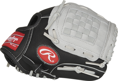 Thumb of a black SC100BGB Sure Catch 10-Inch youth infield/pitcher's glove with a grey Basket web