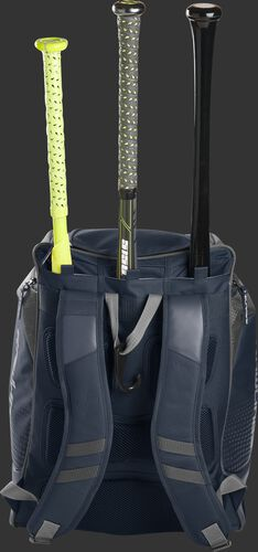 Back of a navy Rawlings Legion baseball bag with 3 bats in the bat storage sleeve - SKU: LEGION-N