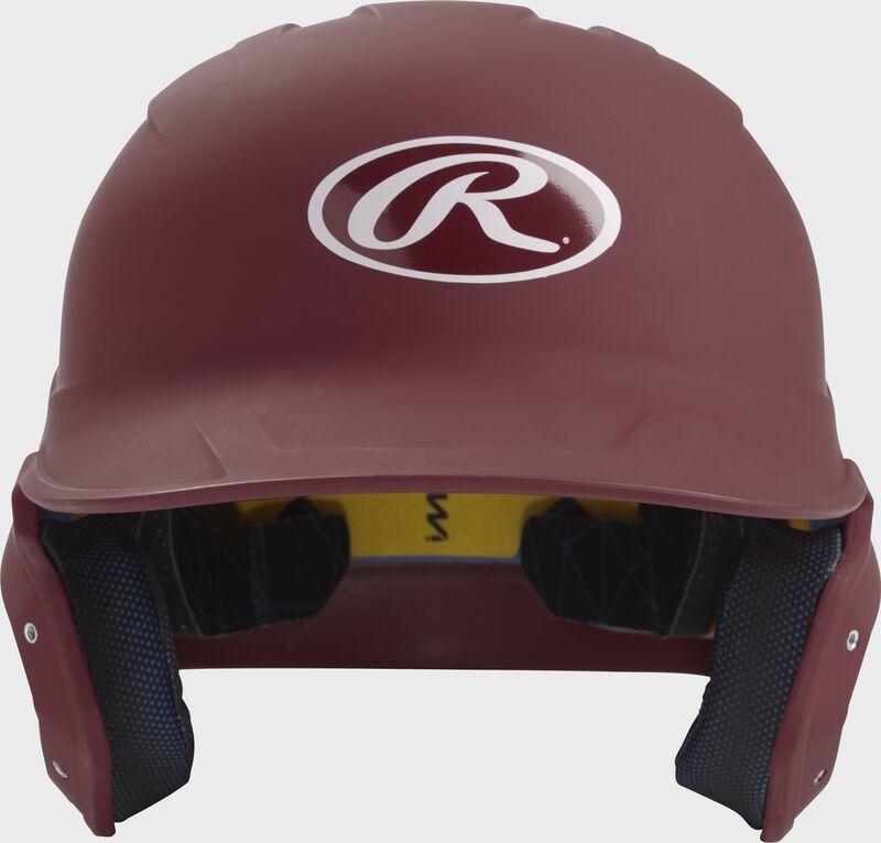 Front of a matte maroon MACH junior size batting helmet