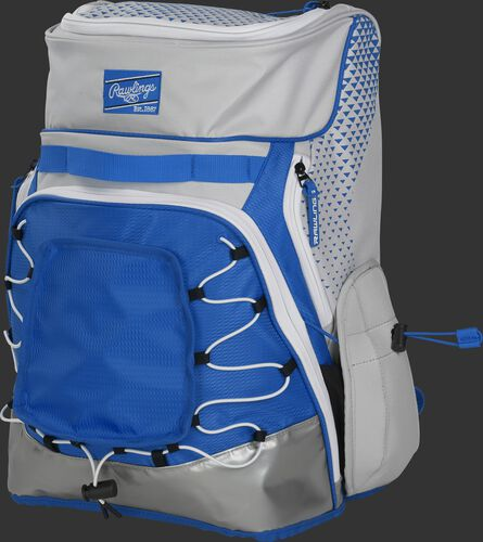 Front left of a white/royal R800 softball backpack