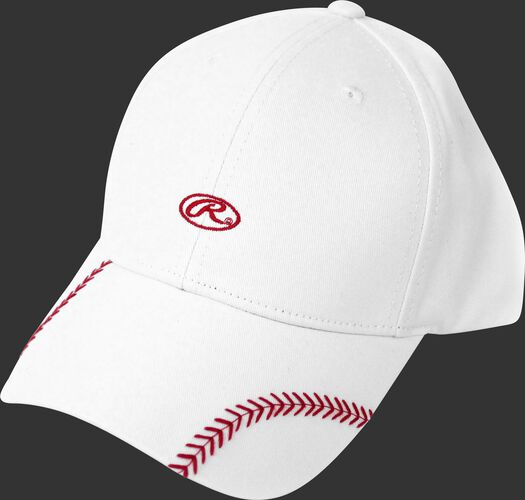 Front of Rawlings Women's Change Up White Baseball Stitch Oval-R Logo Hat - SKU #RC40000-100