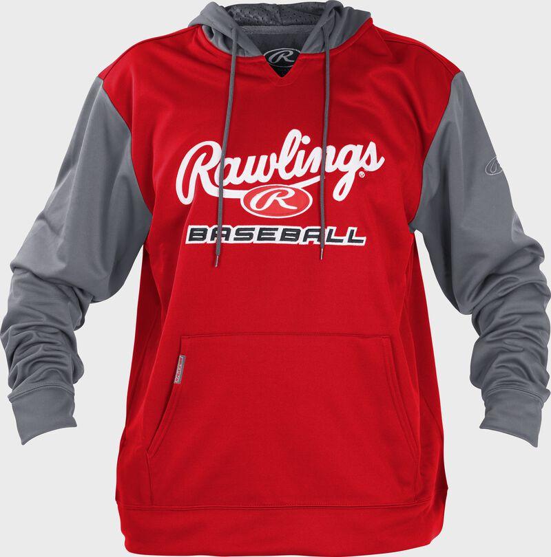 Front of Rawlings Scarlet/Gray Adult long Sleeve Hoodie - SKU #PFHPRBB-GR-88
