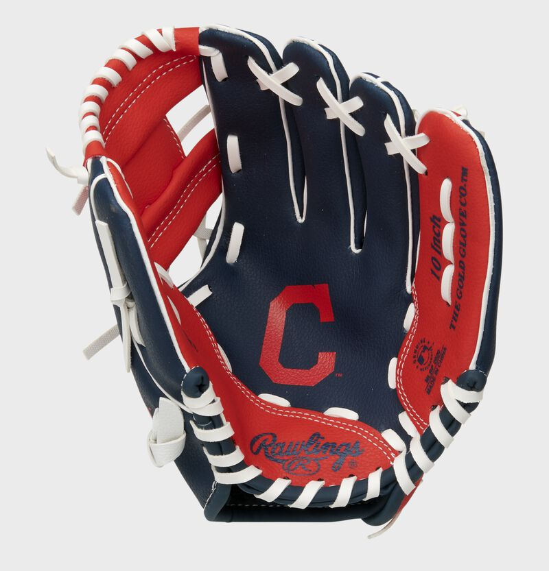 A navy/red Rawlings Cleveland Baseball Team youth glove with a Cleveland logo stamped in the palm - SKU: 22000014111
