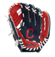 A navy/red Rawlings Cleveland Baseball Team youth glove with a Cleveland logo stamped in the palm - SKU: 22000014111 image number null