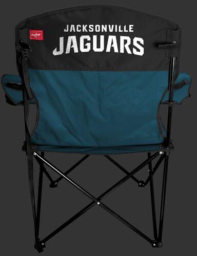 Back of Rawlings Teal and Black NFL Jacksonville Jaguars Lineman Chair With Team Name SKU #31021091111