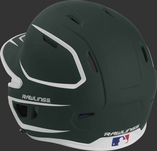 Back left view of a matte dark green/white MACH series batting helmet with air vents