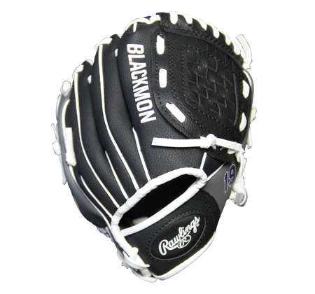 Back of a black MLBPA 9-inch Charlie Blackmon player glove