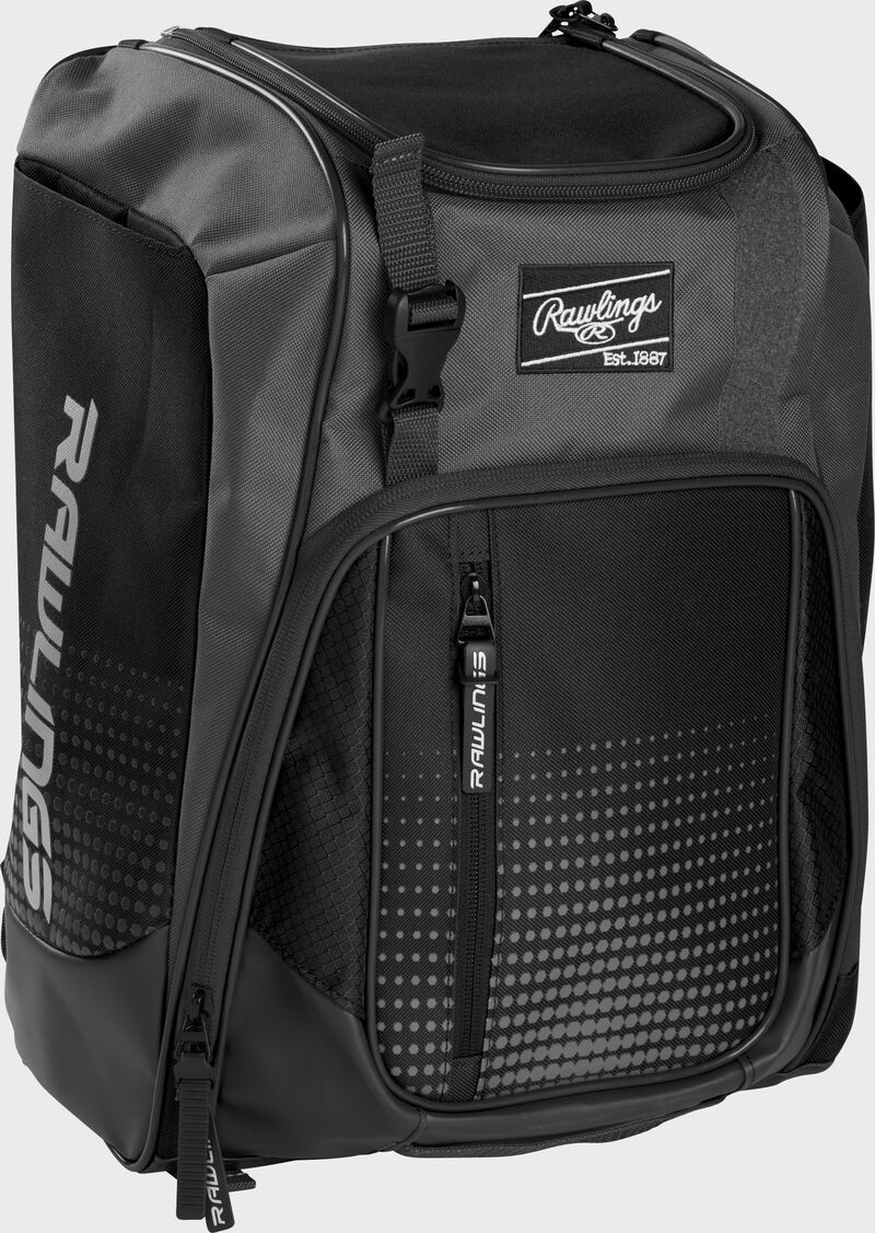Front left angle of a black Rawlings Franchise bag with gray accents - SKU: FRANBP-B