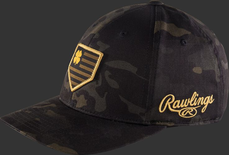 Side View of Rawlings Black Clover Special Edition Camouflage Snapback Hat - SKU #BCRBCM0061