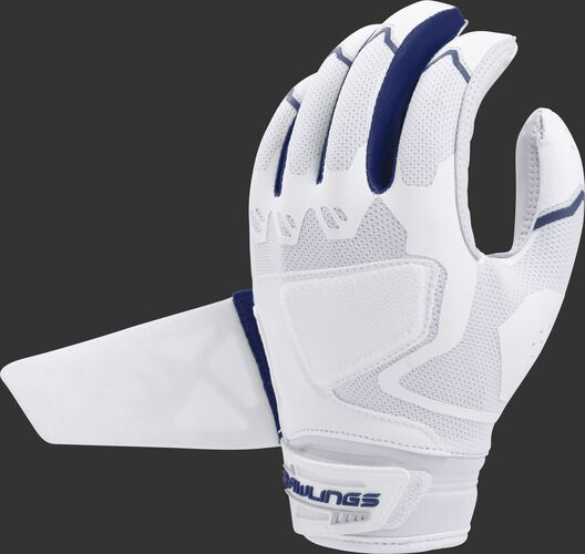 A white/navy FPWPBG-N Rawlings women's Workhorse batting glove with the Impax pad removed