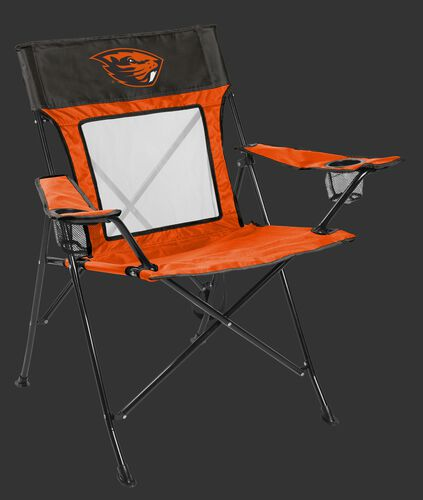 Front of Rawlings Orange and Brown NCAA Oregon State Beavers Game Changer Chair With Team Logo SKU #00643048111
