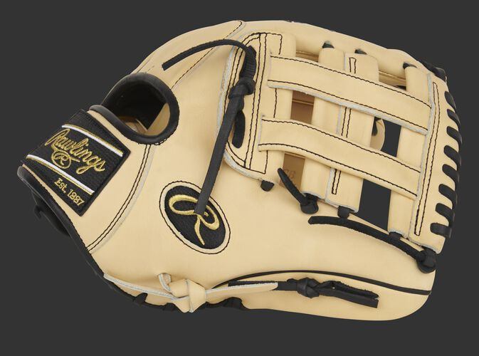 Camel thumb of an exclusive Pro Preferred 11.75-Inch infield glove with a camel H-web - SKU: PROS205-6CB