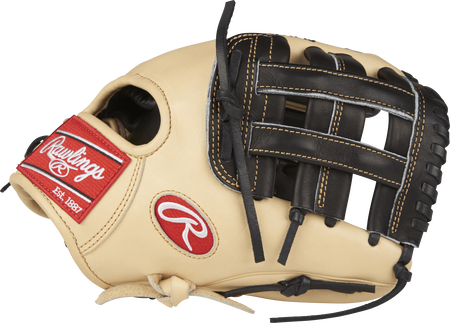 Thumb view of a camel PROS204-6BC Pro Preferred 11.5-inch infield glove with a black H web