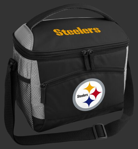 A black Pittsburgh Steelers 12 can soft sided cooler with a team logo on the front - SKU: 10111082111