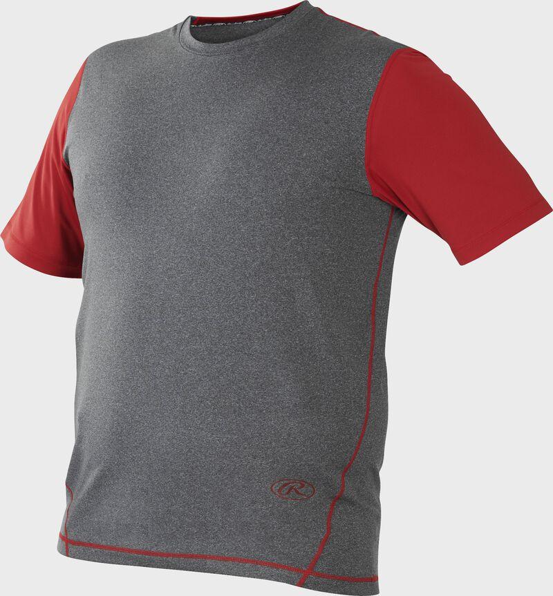 Front of Rawlings Gray/Scarlet Adult Hurler Performance Short Sleeve Shirt - SKU #HSS