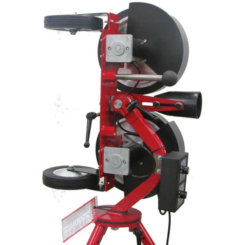 Side of Rawlings Red Spin Ball Pro 2 Wheel Combination Pitching Machine Showing Two Spin Wheels SKU #RPM22