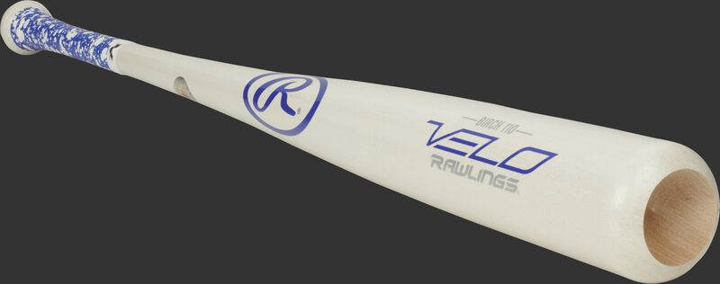 3/4 view of a white 110RBV Rawlings birch wood bat