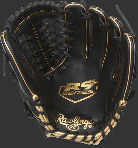 Black palm of a Rawlings R9 series infield/pitcher's glove with a gold palm stamp and black laces - SKU: R9205-4BG