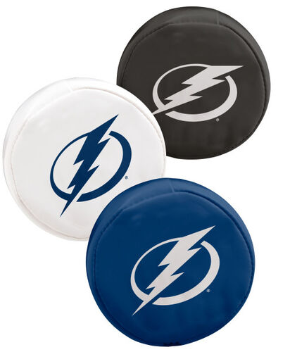 Rawlings NHL Tampa Bay Lightning Three Puck Softee Set With Black, White, and Blue Pucks and Team Logo SKU #00614112111
