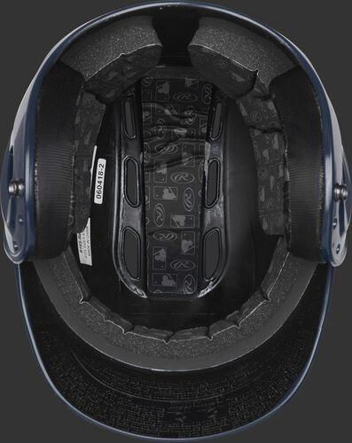 Inside of a navy R1601 Velo batting helmet with black foam padding