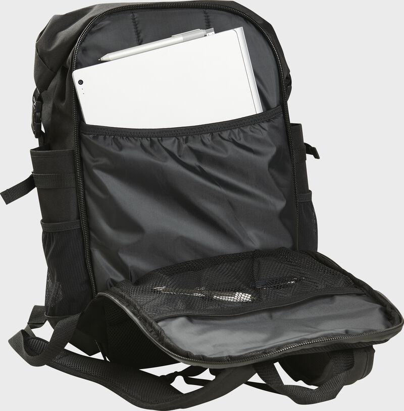 An open black CEO coach's backpack with papers in the back storage compartment - CEOBP-B