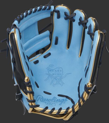 Columbia blue palm of a Rawlings HOH R2G infield glove with navy laces - SKU: PROR204W-2CBN