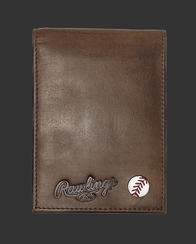 A brown Play Ball front pocket wallet with the Rawlings logo and ball emblem in the bottom right corner - SKU: MW496-200