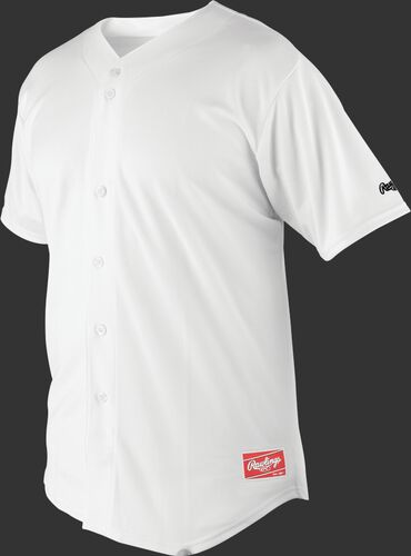 Front of Rawlings White Adult Short Sleeve Jersey  - SKU #RBJ150