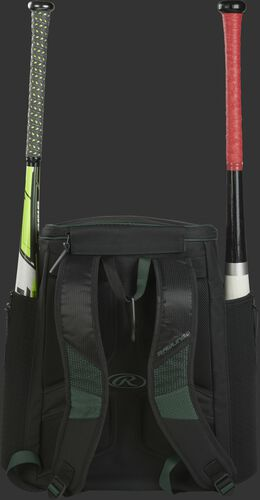 Back of a dark green/black R600 Rawlings baseball backpack with two bats
