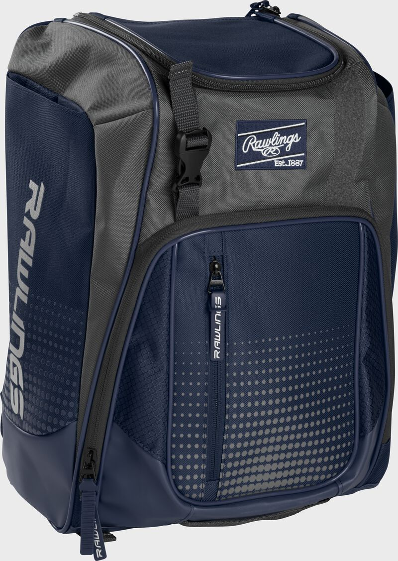 Front left angle of a navy Rawlings Franchise bag with gray accents - SKU: FRANBP-N