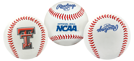 3 views of a NCAA Texas Tech Red Raiders baseball with a team logo, NCAA logo and Rawlings logo