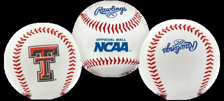 3 views of a NCAA Texas Tech Red Raiders baseball with a team logo, NCAA logo and Rawlings logo