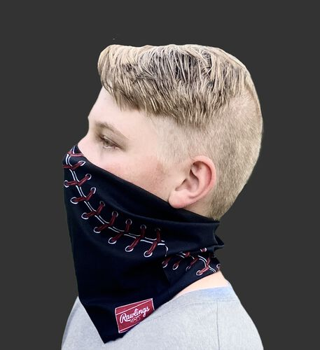 A kid wearing a black baseball stitch neck gaiter with it covering his mouth and nose - SKU: YRC40001-001