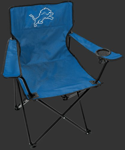 Front of Rawlings Blue NFL Detroit Lions Gameday Elite Quad Chair With Team Logo SKU #00551067111