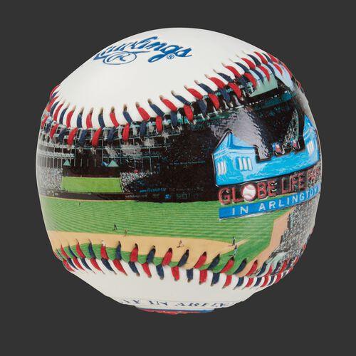 Stadium picture of a Texas Rangers stadium baseball