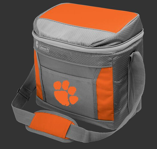 A grey NCAA Clemson Tigers 16 can cooler with the team logo on the front