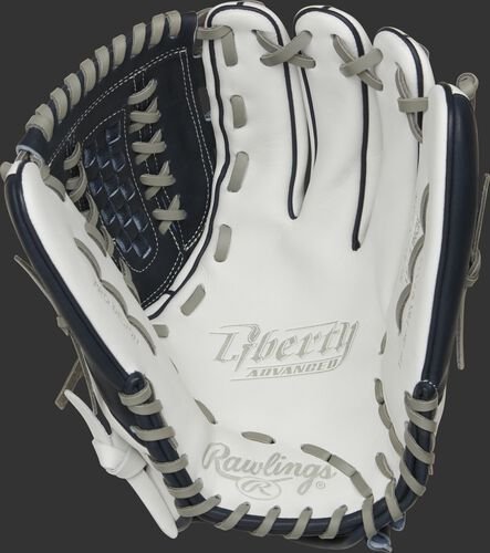 RLA125-18N Rawlings Liberty Advanced Color Series glove with a white palm and gray laces