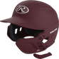 A matte maroon MEXT attached to a Mach batting helmet showing the hardware image number null