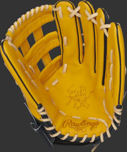 PROBH3-6GT Rawlings Heart of the Hide outfield glove with a gold tan palm, gold tan web and camel laces