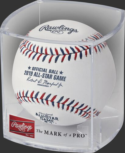 ASBB19 Official 2019 MLB All-Star Game ball in a plastic display cube