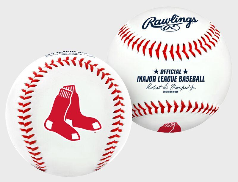 2 views of a MLB Boston Red Sox baseball