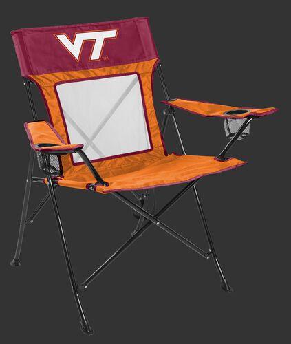Front of Rawlings Crimson and Orange NCAA Virginia Tech Hokies Game Changer Chair With Team Logo SKU #00643111111