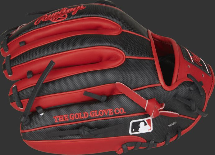 Fingers side of a PRO315-2SSS 11.75-Inch Heart of the Hide glove with a Speed Shell back and the Official Glove of MLB logo