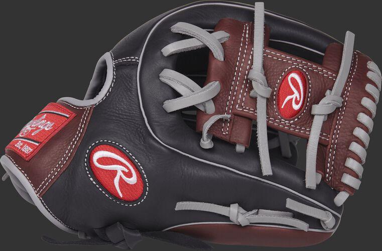 R9314-2BSG 11.5-inch R9 Series glove with a black/dark sherry thumb and dark sherry I web