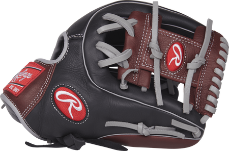 R9314-2BSG 11.5-inch R9 Series glove with a black/dark sherry thumb and dark sherry I web