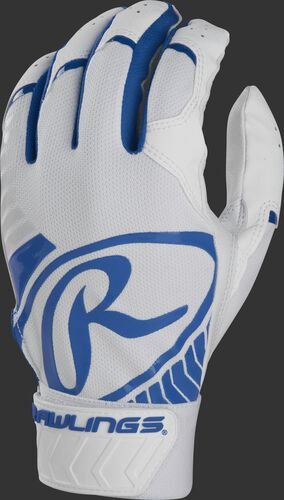 Back of a white/royal adult 5150 batting glove with a large royal oval-R across the back of the palm - SKU: BR51BG-R
