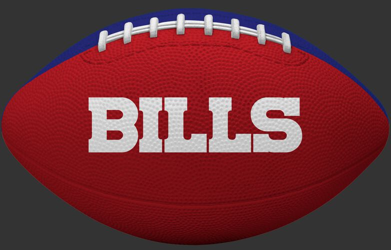 Red side of a Buffalo Bills rubber Gridiron football with team name SKU #09501061121