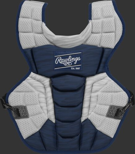 A navy/white CPV2N Rawlings Velo 2.0 intermediate chest protector with a striped pattern