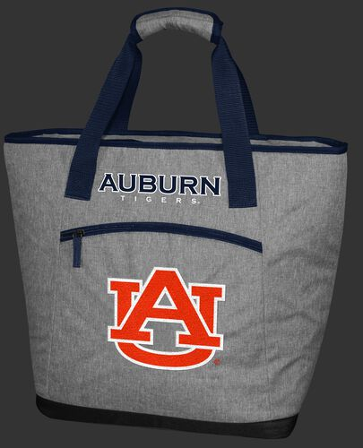 A gray Auburn Tigers 30 can tote cooler with an embroidered team logo on the front - SKU: 10323003111