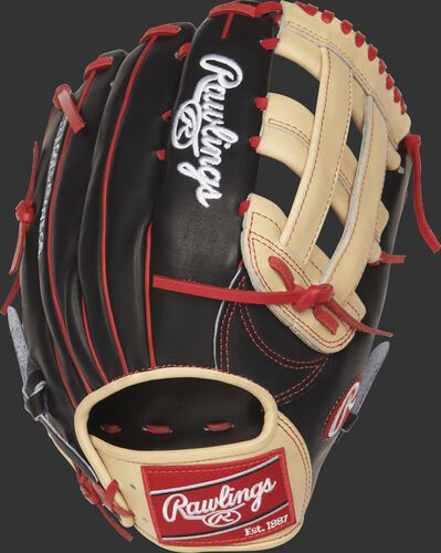 PROBH34 13-inch Bryce Harper Game Day glove with a black back and scarlet welting